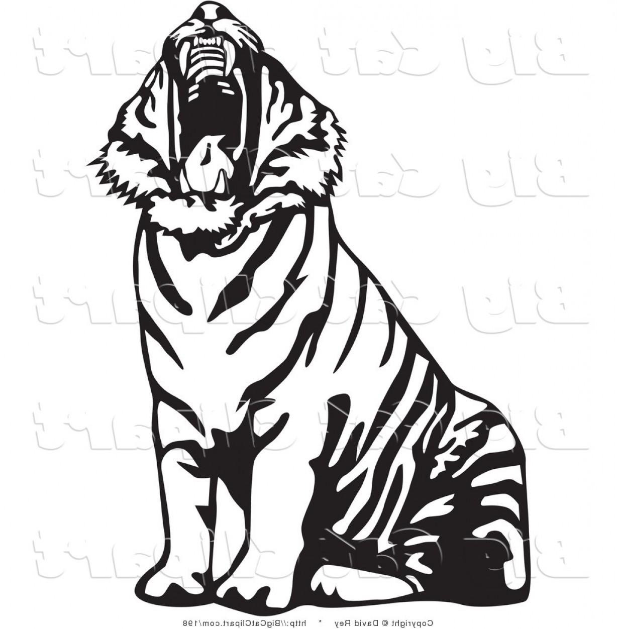 The predator full profile clipart black and white png freeuse stock Big Cat Vector Clipart Of A Yawning Black And White Tiger ... png freeuse stock