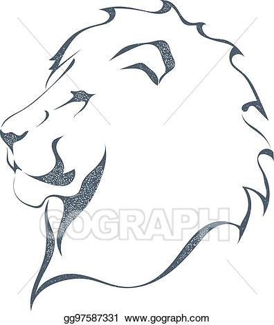 The predator full profile clipart black and white clipart stock Vector Art - Sketch black silhouette of a lion\'s head in ... clipart stock