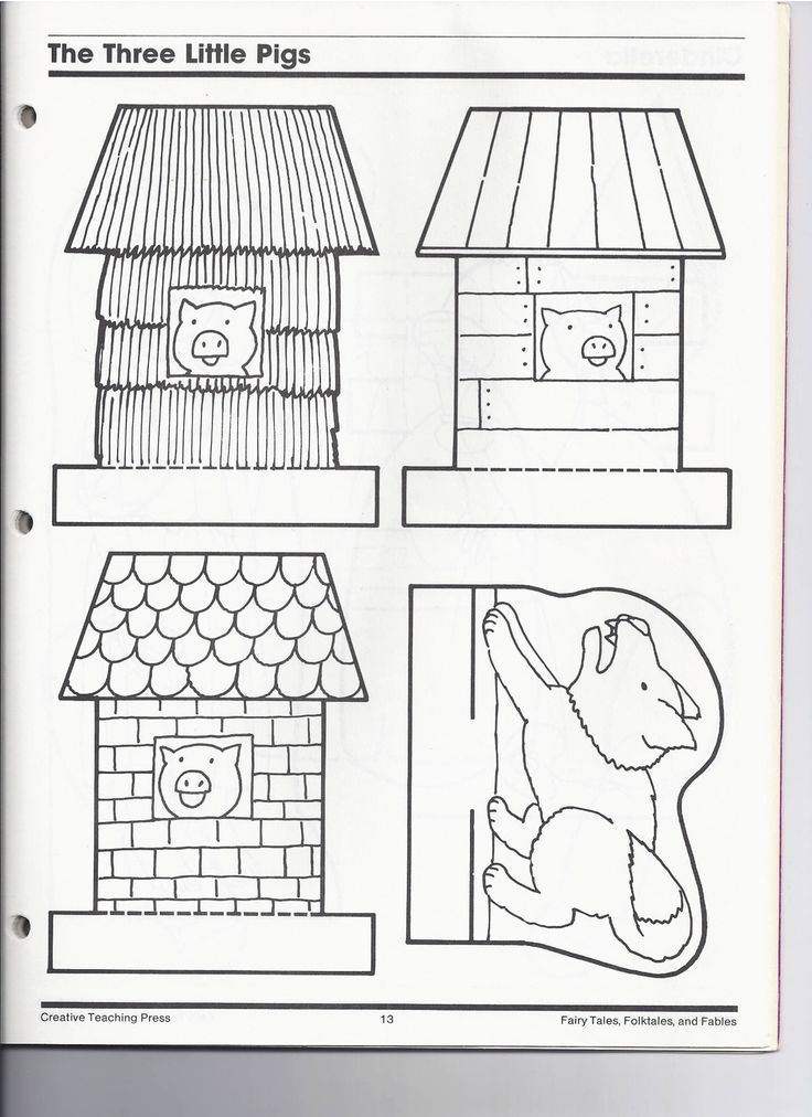 The three little pigs clipart black and white image transparent Image result for 3 little pig clipart houses black and white ... image transparent