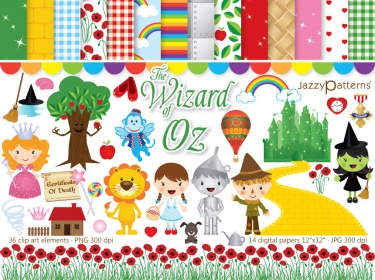 The wonderful wizard of oz clipart banner black and white The Wonderful Wizard of Oz clipart and digital paper pack | Meylah banner black and white