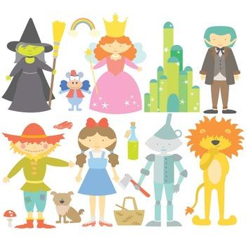 The wonderful wizard of oz clipart jpg transparent stock Fairy Tale The Wonderful Wizard Of Oz Digital Clipart & Vector Set jpg transparent stock