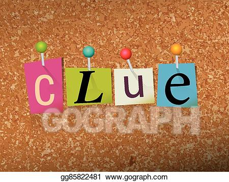 The word clue clipart svg transparent library Clip Art Vector - Clue concept pinned letters illustration ... svg transparent library