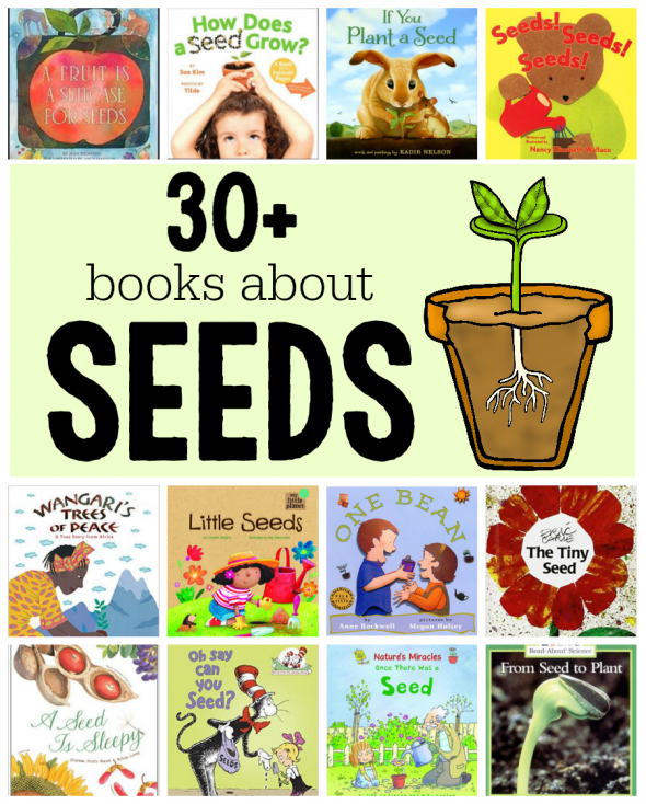 The word grow written in a flower clipart vector stock Books about seeds and plants - The Measured Mom vector stock