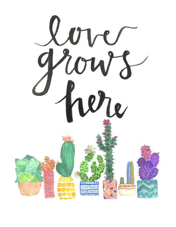 The word grow written in a flower clipart banner free stock Love Grows Here | Words | Watercolor quote, Cactus quotes ... banner free stock
