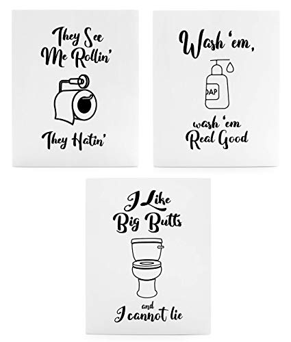 They see me rolling clipart for bathroom black and white download Wooden Funny Bathroom Signs (Set of 3); Cute Humorous Wall Art Each 10 x 8  Inches black and white download
