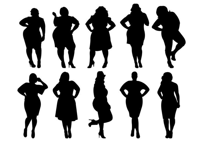 Fat Women Silhouettes Vector - Download Free Vectors ... image royalty free download