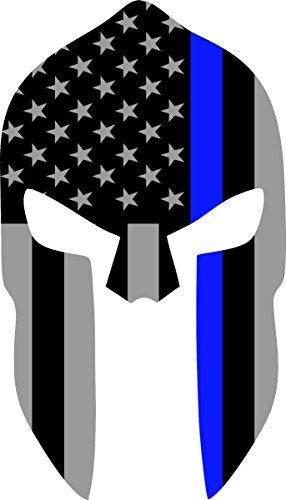 Thin blue line clipart clip black and white library Subdued US Flag Spartan Helmet Reflective Decal with Thin Blue ... clip black and white library