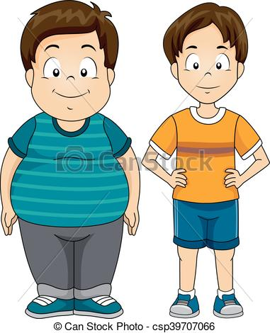 Thin fat clipart picture library stock Clip Art Vector of Kids Boys Fat Thin - Illustration Featuring a ... picture library stock