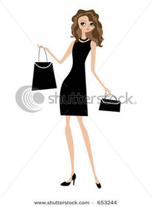 Thin lady clipart vector free library Clip Art Image: Shopping Lady In Black vector free library