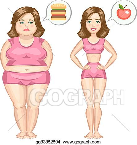 Thin lady clipart clipart library stock Clip Art Vector - Fat and slim girl. vector illustration ... clipart library stock