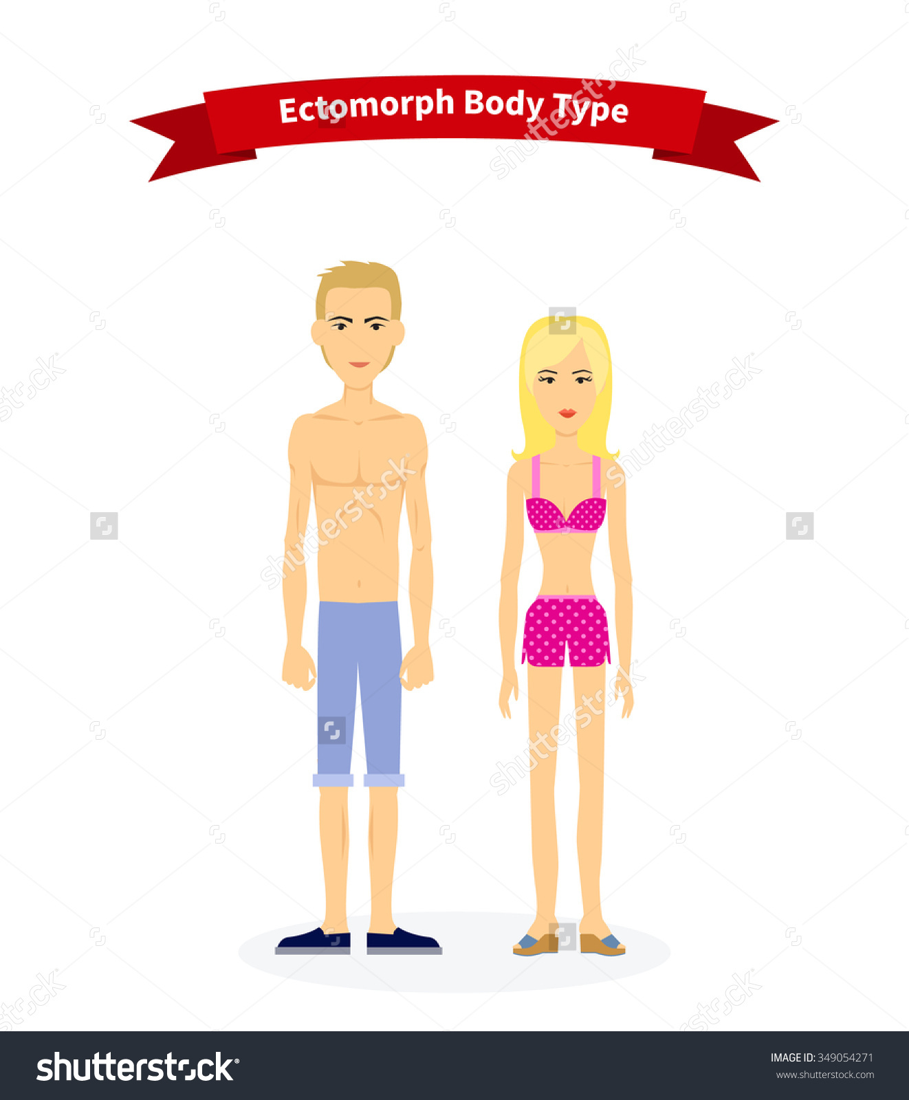 Thin person clipart black and white library Ectomorph Body Type Woman Man People Stock Vector 349054271 ... black and white library