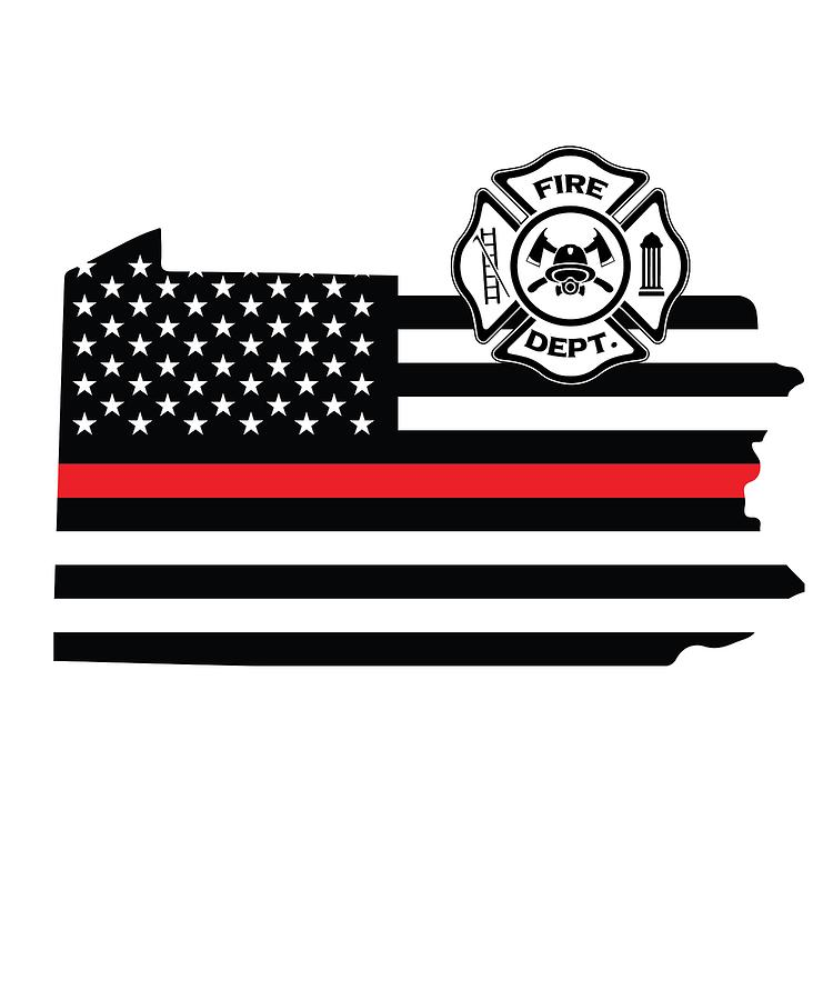 Thin red line clipart png free stock Pennsylvania Firefighter Shield Thin Red Line Flag png free stock