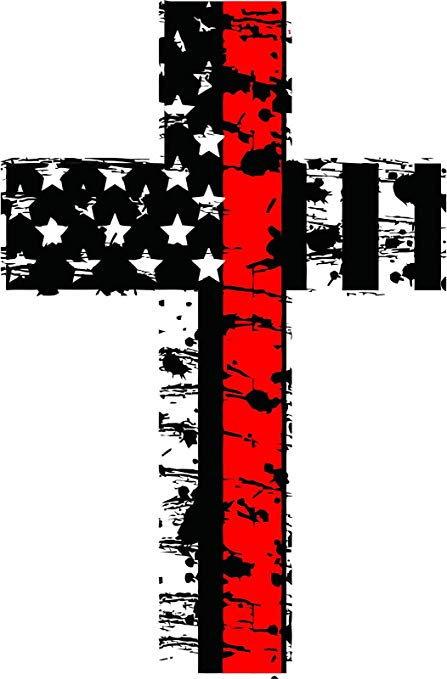 Thin red line clipart picture transparent Thin Red line Distressed American Flag Firefighter Cross Reflective Decal  Vinyl Sticker 6\