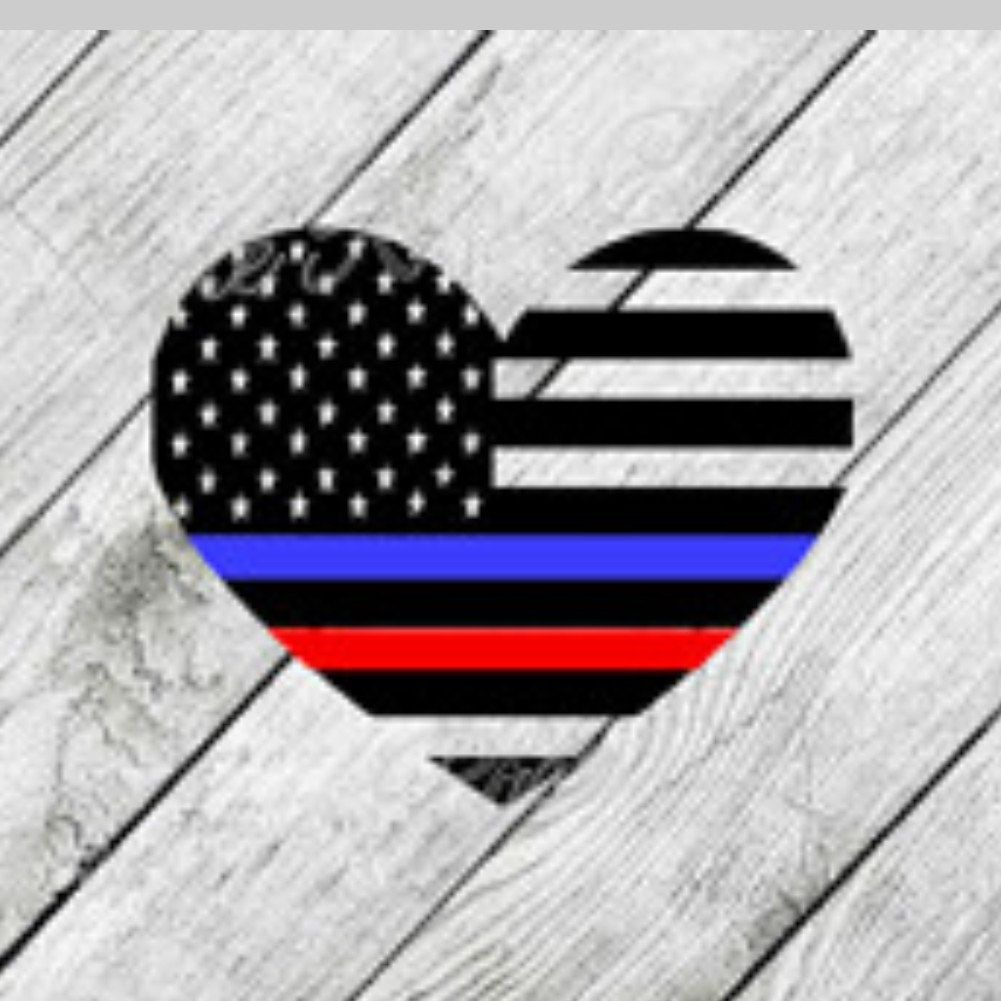 Thin red line heartflag clipart jpg free library Thin Red Blue Line Flag Heart Fireman Firefighter Police LEO ... jpg free library