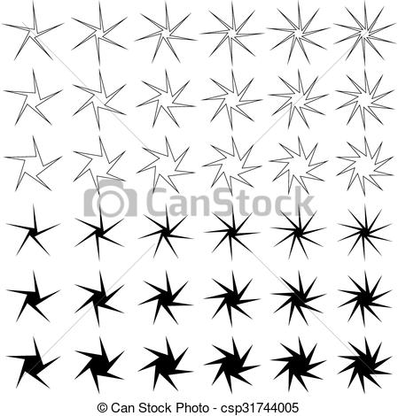 Thin star clipart clip library stock Vector Clipart of Thin asymmetric star shape set - Thin asymmetric ... clip library stock