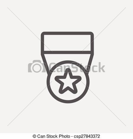 Thin star clipart graphic freeuse download Vectors Illustration of One star medal thin line icon - One star ... graphic freeuse download
