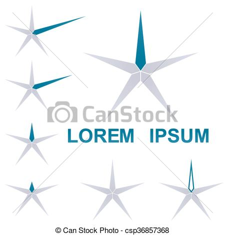 Thin star clipart png library stock Clip Art Vector of Thin star logo vector set - Thin star logo ... png library stock