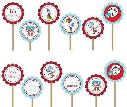 Thing 1 and thing 2 clip art clip art free stock Dr. Seuss Thing 1 Thing 2- Printable DIY Party Circle Cupcake ... clip art free stock