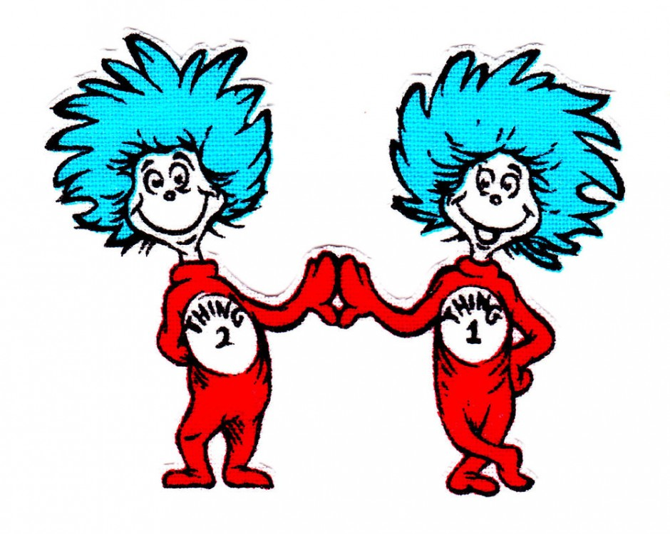 Sitting thing 1 and thing 2 clipart image black and white download Free Thing One And Thing Two Clipart, Download Free Clip Art ... image black and white download