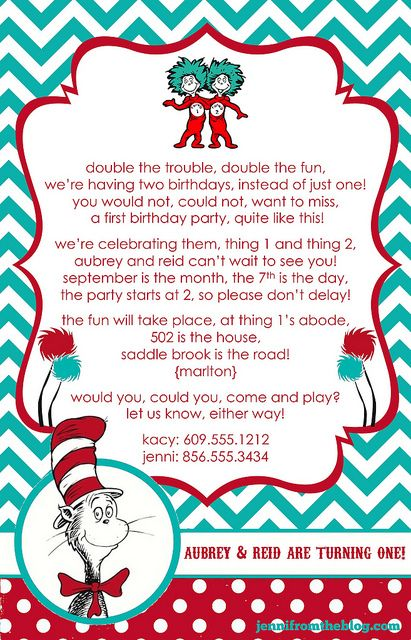 Thing 1 boy and thing 2 girl clipart svg transparent download Thing 1 & Thing 2 Dr. Seuss invites I designed for Reid & Aubs 1st ... svg transparent download