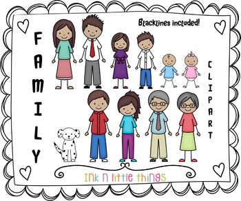Things i do with my family clipart black and white stock Kids Clipart - My Family Clip Art Set 4 black and white stock