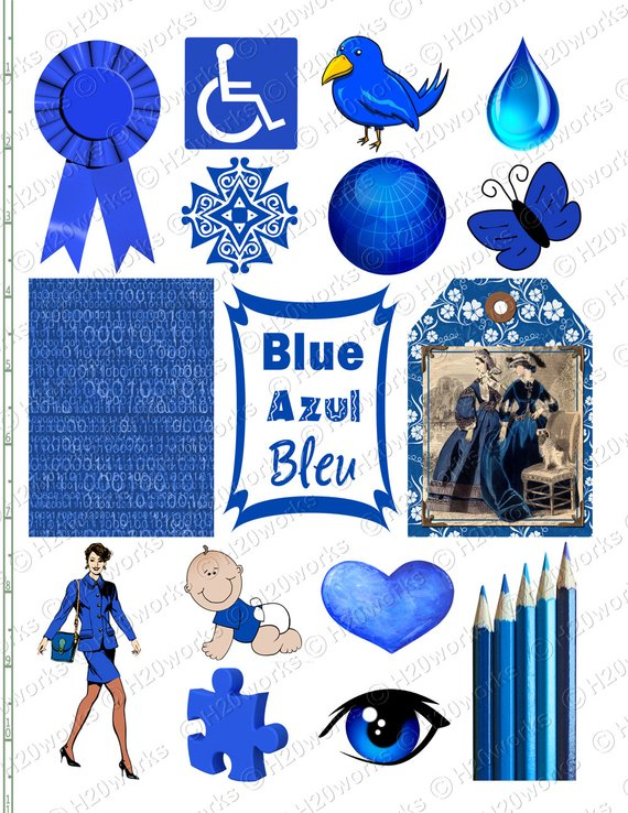 Things that are blue in color clipart