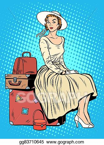 Things that go in a luggage clipart royalty free stock Vector Stock - Girl passenger baggage travel trip. Stock ... royalty free stock