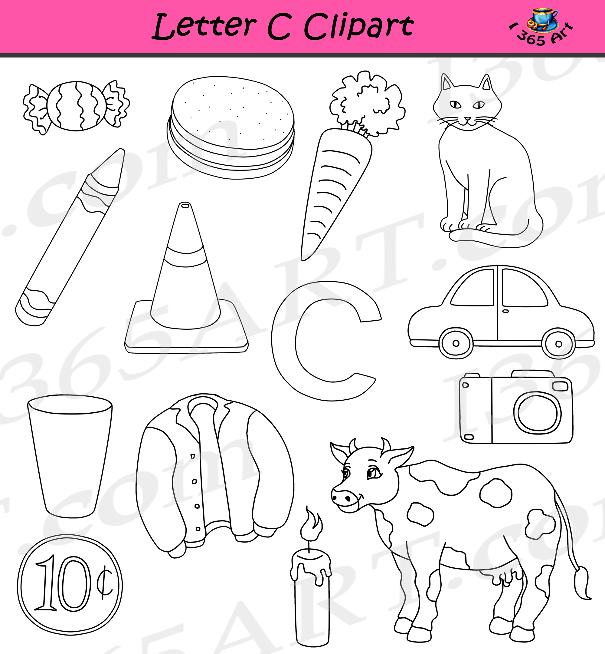 Things that start with the letter c clipart svg download Letter C Clipart - Commercial-Use svg download