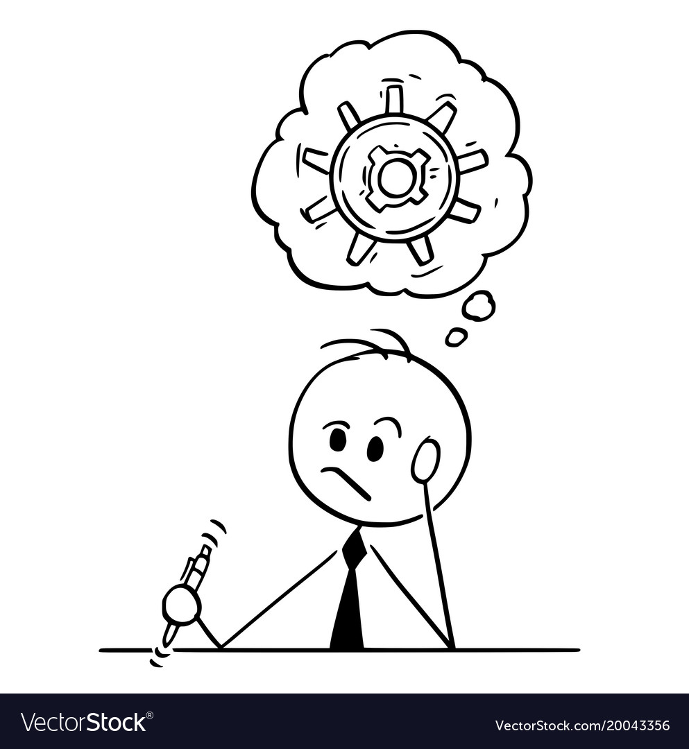 Thinking hard black and white clipart free picture stock Cartoon of businessman thinking hard to find picture stock