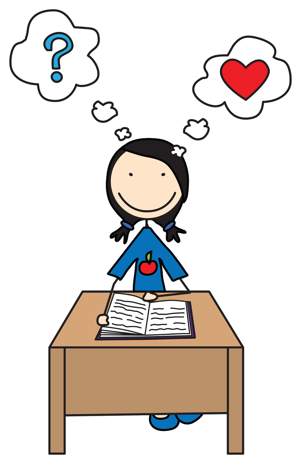 Free cartoon clipart reflecting good heart for christ png black and white stock Kids Reading And Thinking Clipart png black and white stock