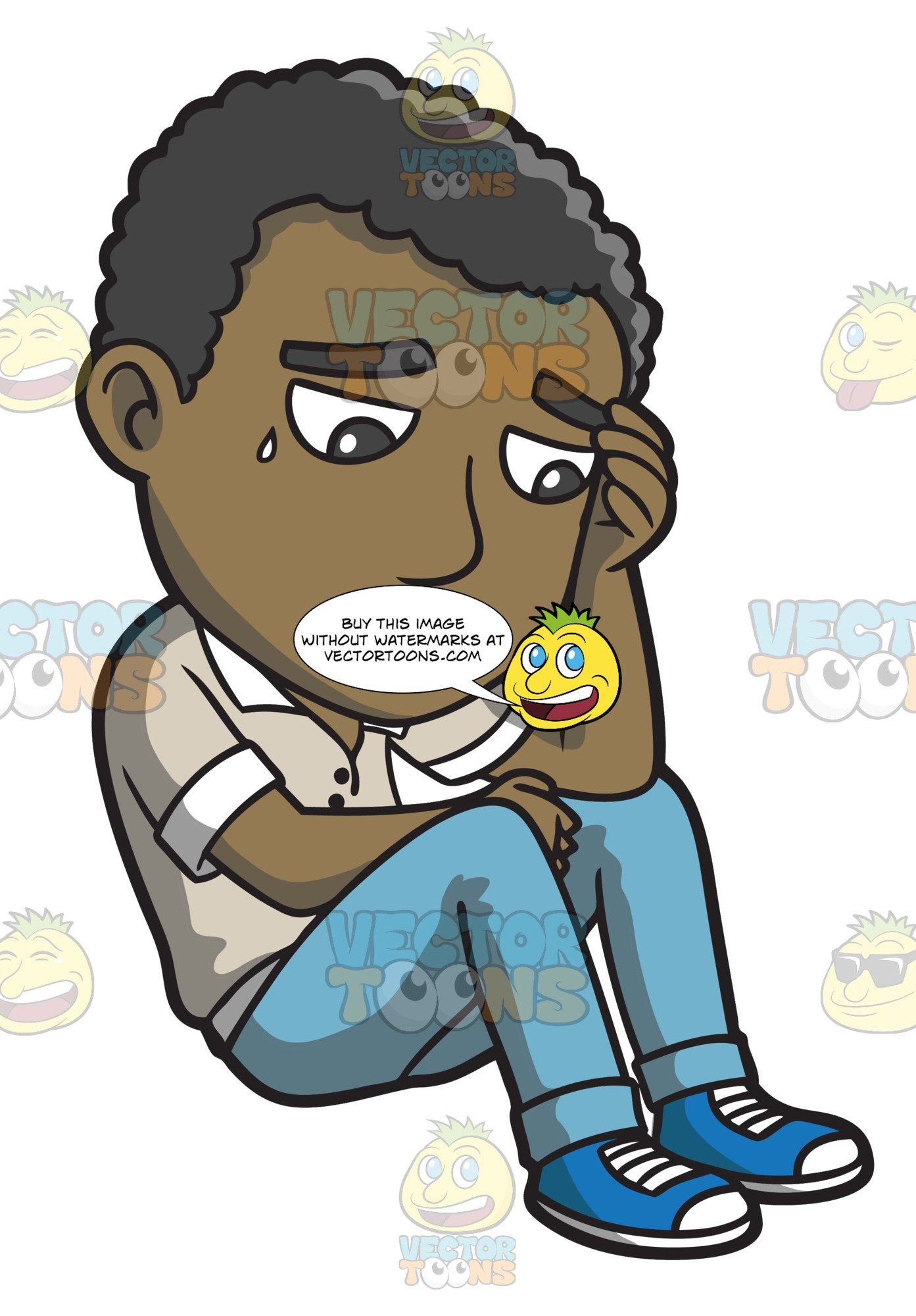 Thinking sitting man clipart picture freeuse download A Black Man Thinking Of A Sad Thought picture freeuse download