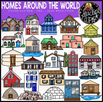 This is home cliparts banner freeuse library Homes Around the World Clip Art Set {Educlips Clipart} banner freeuse library