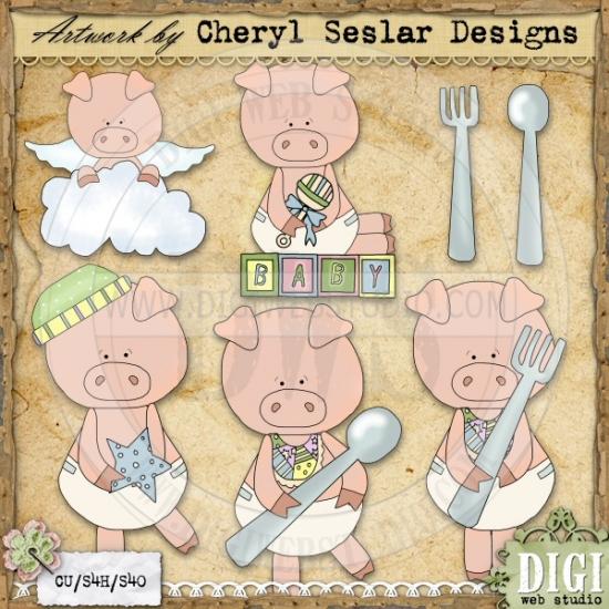 This little piggy clipart vector library download This Little Piggy 1 - Exclusive Cheryl Seslar Clip Art Download ... vector library download