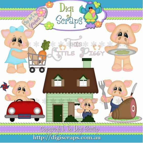 This little piggy clipart graphic transparent library This Little Piggy Pig Clip Art Set Clipart by Digiscrapsau, $2.00 ... graphic transparent library