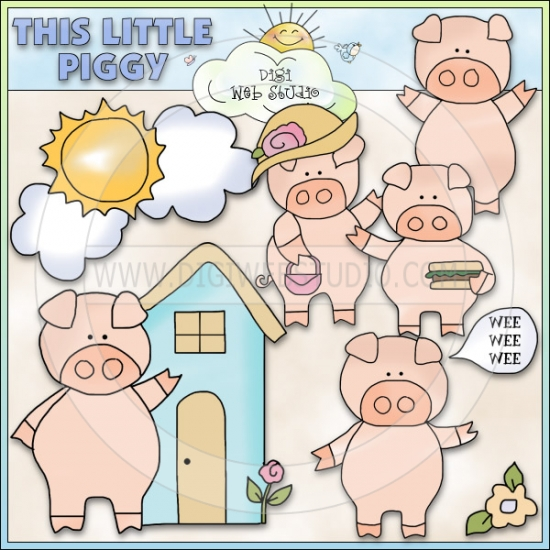 This little piggy clipart svg royalty free stock This Little Piggy 1 - NE Cheryl Seslar Clip Art : Digi Web Studio ... svg royalty free stock