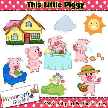 This little piggy clipart graphic This Little Piggy Clip art | Color black, Colors and Clip art graphic