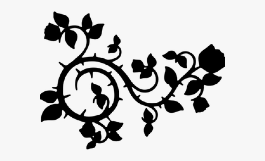 Thorn vine clipart vector black and white download Thorns Clipart Silhouette - Black Flower Vine Png #389593 ... vector black and white download