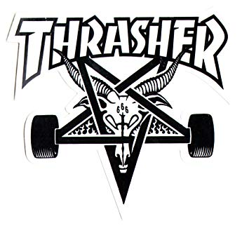 Thrasher black and white clipart transparent Thrasher Magazine Skate Goat Pentagram Skateboard Sticker 9 x 10cm  White/Black transparent