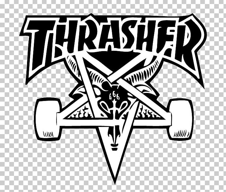 Thrasher black and white clipart vector royalty free Thrasher Skateboarding Hoodie Sticker PNG, Clipart, Angle ... vector royalty free