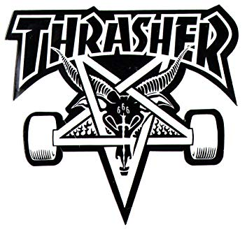 Thrasher black and white clipart clip art free stock Thrasher Magazine Skate Goat Pentagram Skateboard Sticker 9 ... clip art free stock