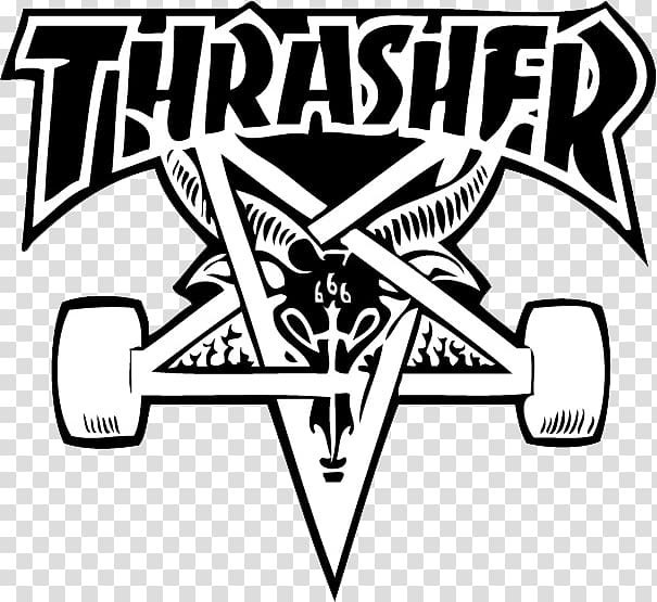 Thrasher black and white clipart free library Thrasher Presents Skate and Destroy Sticker Logo Skateboard ... free library
