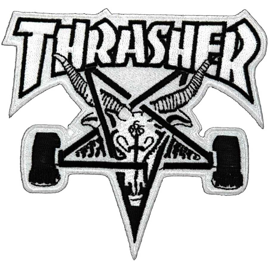 Thrasher black and white clipart banner transparent Thrasher Skategoat PATCH 3.875\
