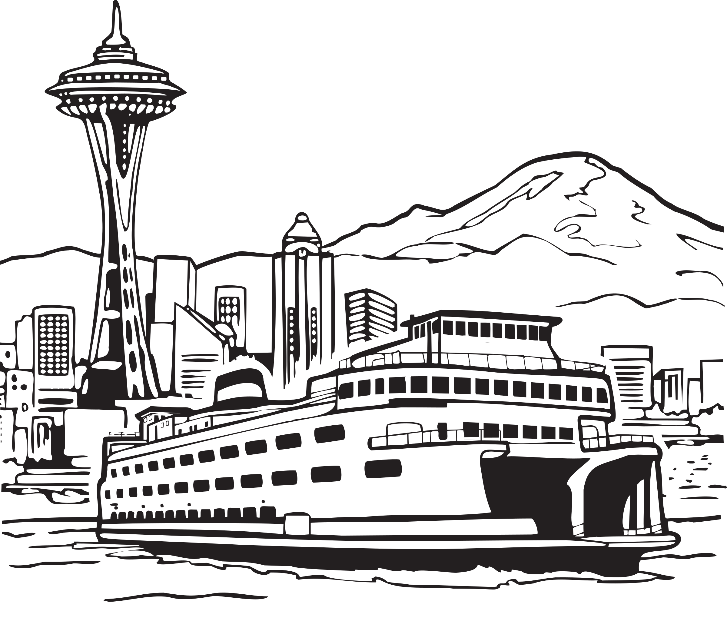 Thread with needle clipart coloring book picture royalty free library Space Needle and Ferry Icons PNG - Free PNG and Icons Downloads picture royalty free library