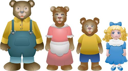 Three bears and goldilocks clipart clipart black and white download The fairy tail of Goldilocks and the three bears clipart black and white download