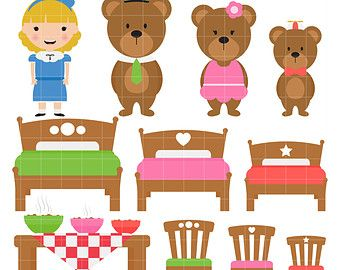Three bears and goldilocks clipart picture black and white download Goldilocks And The 3 Bears Clipart | Bears | Bear crafts ... picture black and white download