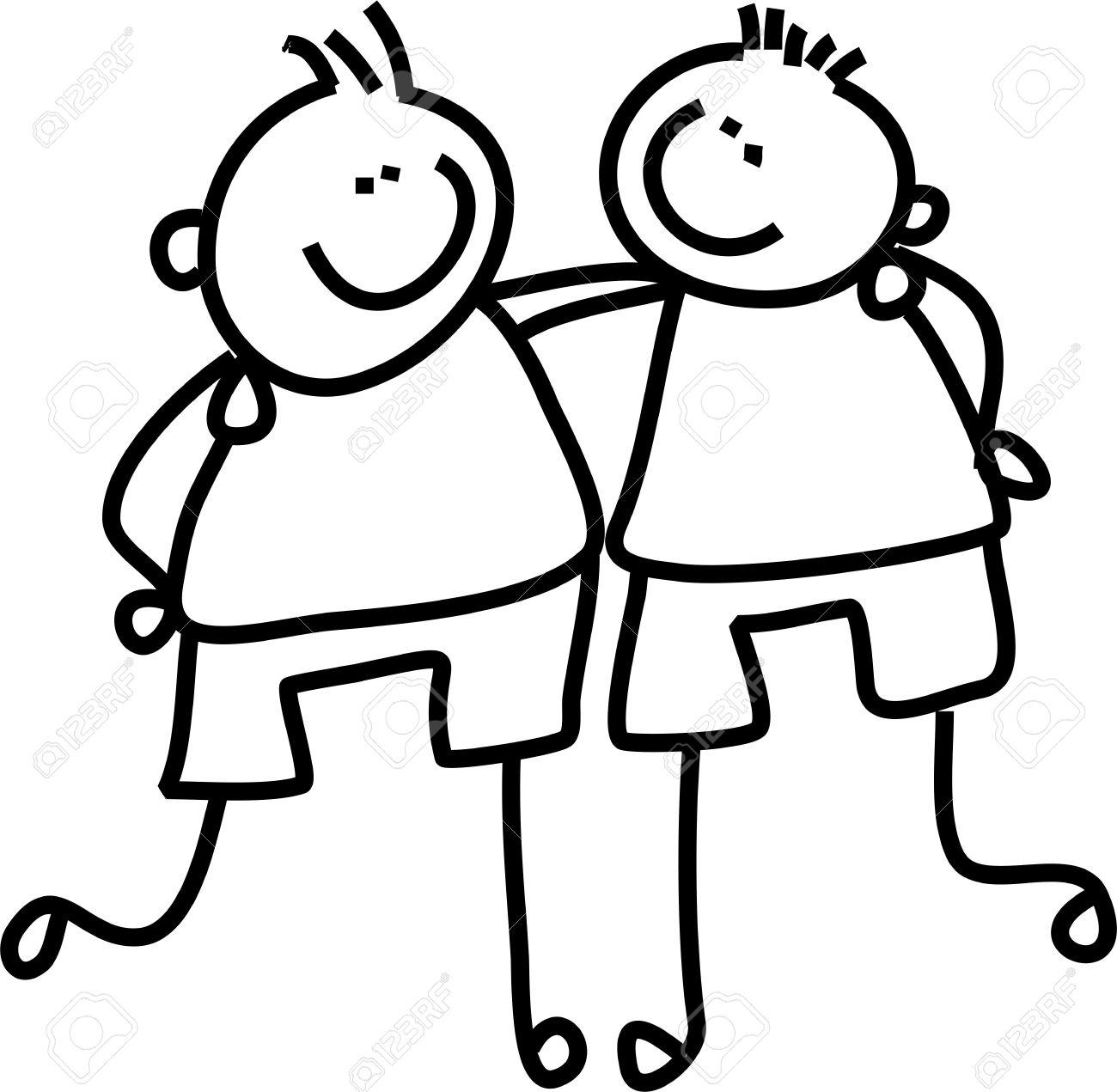 Three boys friendship clipart black and white image black and white Two Friends PNG Black And White Transparent Two Friends ... image black and white