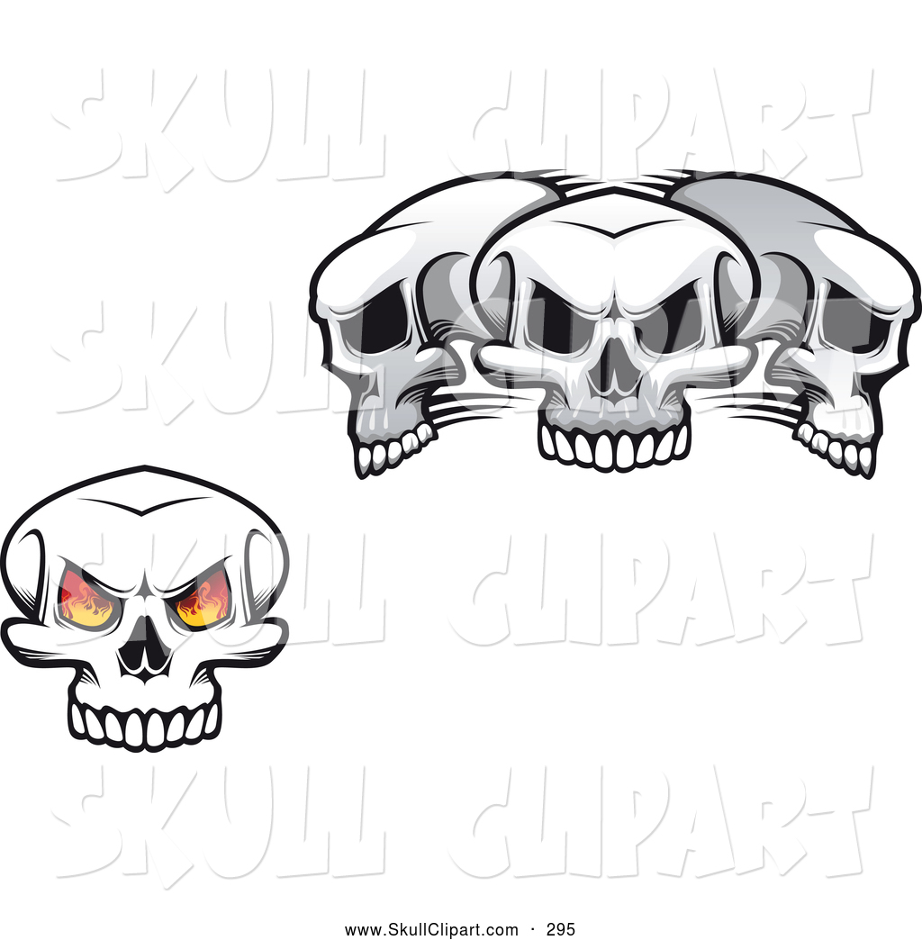 Three eyed skull clipart picture royalty free library Vector Clip Art of a Single Fiery Eyed Skull and Three ... picture royalty free library