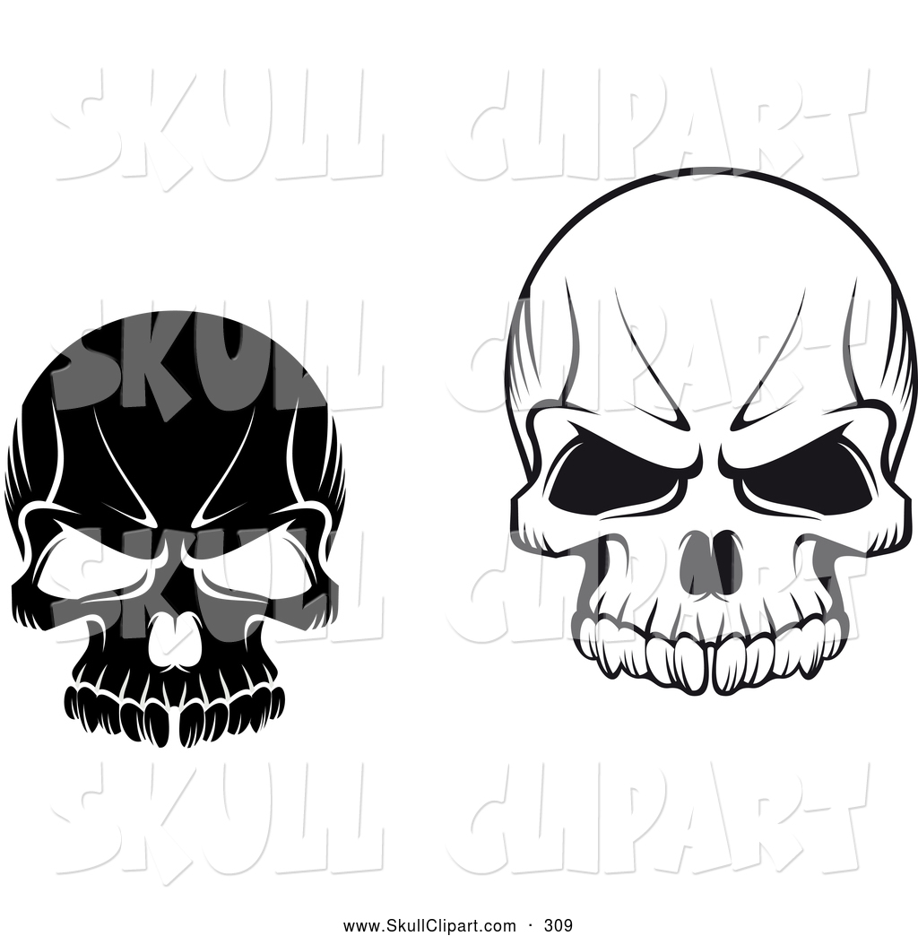 Three eyed skull clipart vector download Vector Clip Art of Black and White Evil Skulls on White by ... vector download