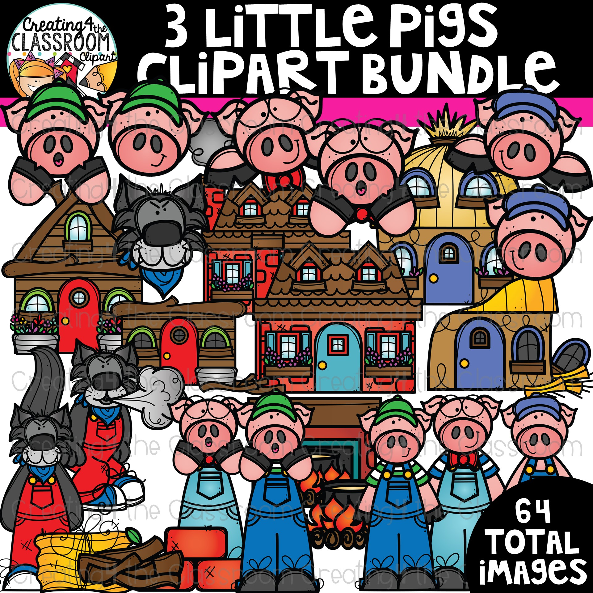 Three little pigs clipart clip royalty free download Three Little Pigs Clipart Bundle {Reading Clipart} clip royalty free download