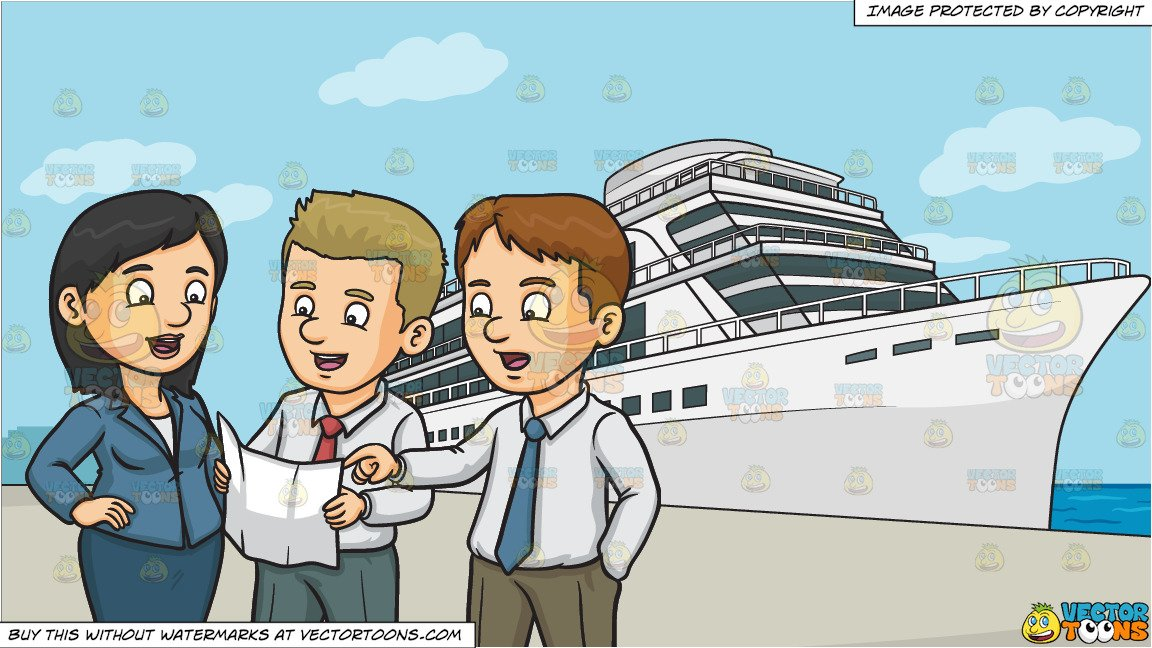 Three men in a boat clipart clipart freeuse Three Work Colleagues Discussing A Plan and A Luxury Cruise Ship Liner  Background clipart freeuse